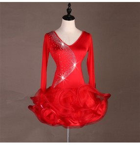 Red women's latin dancing dresses rhinestones stage performance salsa rumba chacha dance skirts costumes dress